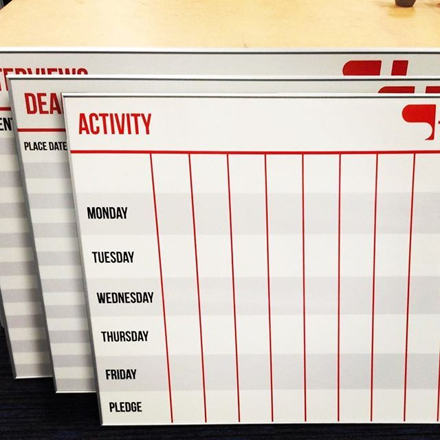 3 bespoke white boards printed for a customer's planning needs #LargeFormatPrint #LovePrint