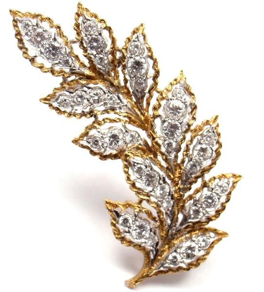 Rare! Vintage Authentic Mario Buccellati 18k Yellow Gold Diamond Leaf Pin Brooch - Fortrove