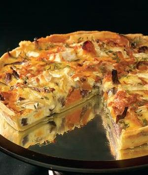 Roasted butternut, red onion and brie quiche