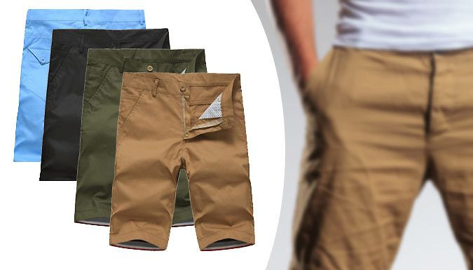 Buy: Men's Chino Shorts - 4 Colours for just: £12.99 Available in khaki, beige, navy and light blue to suit your style      Available sizes: 29, 30, 31, 32, 33, 34 and 36      Shorts are 100% cotton material for extra comfort      Two front pockets and two back pockets      Closes with both a zip and a button at the top      The perfect way to stay looking cool in the hot weather      Save 68% on the Men's Chino Shorts for 12.99 pound instead of 39.99 pound BUY NOW for just GBP12.99