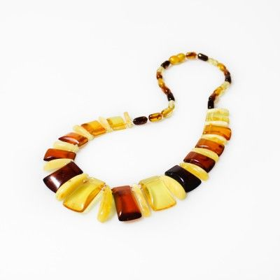 Collier d'ambre tout ambre multicolore style Egyptien - Bijoux d'Ambre