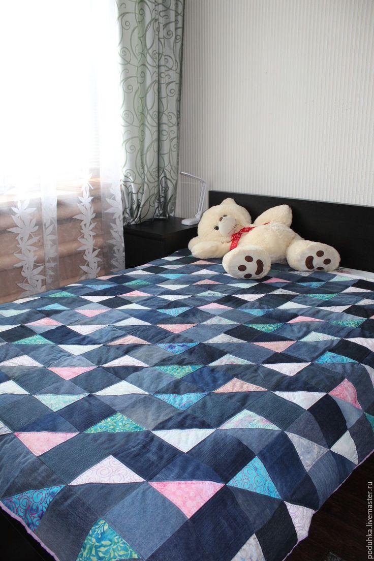 Купить Одеяло джинсовое. - синий, цветной, темно синий, лоскутное шитье, лоскутное одеяло