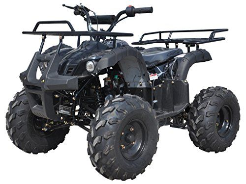 125cc ATV Four Wheelers Fully Automatic 4 Stroke Engine 19″/18″ Tires Quads for Kids Black Spider
