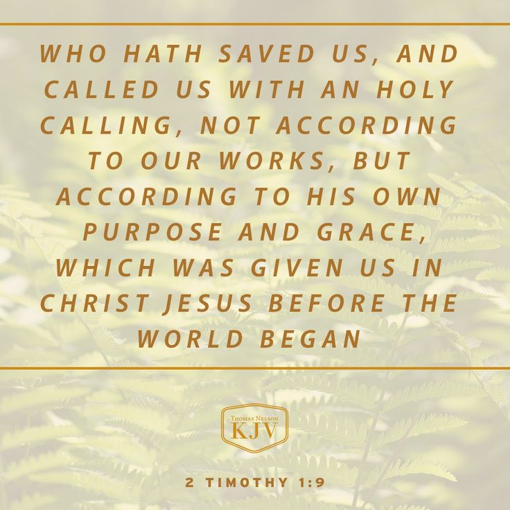 Who hath saved us, and called us with an holy calling, not according to our works, but according to his own purpose and grace, which was given us in Christ Jesus before the world began, ~2 Timothy 1:9 KJV