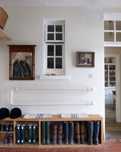 the boot room... want plenty of room for work boots, rubber boots & slippers for family & guests at the farm