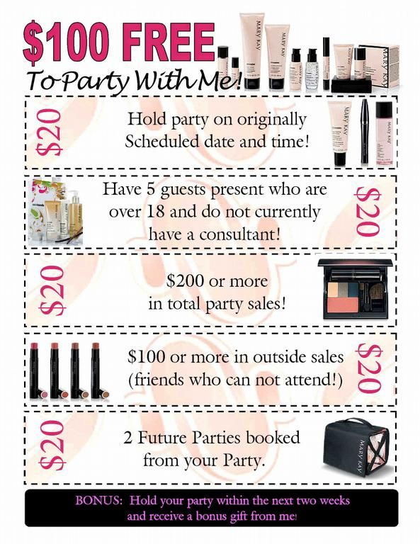 $100 FREE to party with me!! Whether it be an online/catalog/or party at your house, you can get the FULL benefits of a Mary Kay hostess. Www.marykay.com/jtomsett