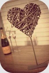 Wicker heart room decorations or table centres for weddings.