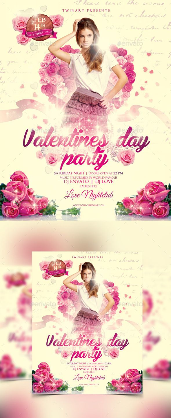 Valentines Day Party Flyer — Photoshop PSD #elegant #woman • Available here → https://graphicriver.net/item/valentines-day-party-flyer/10198511?ref=pxcr