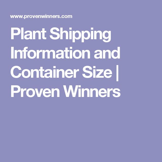 Plant Shipping Information and Container Size | Proven Winners