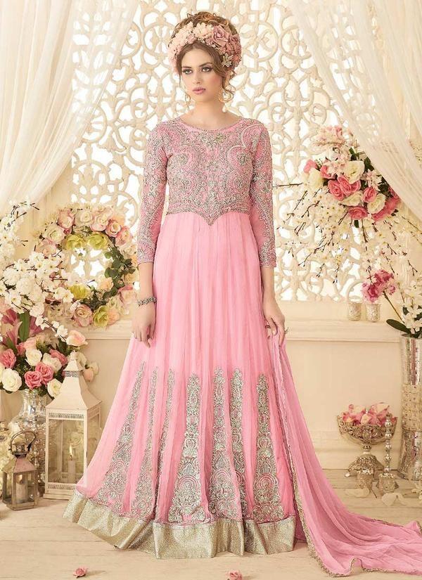 Pink Net Embroidered Abaya Style Anarkali