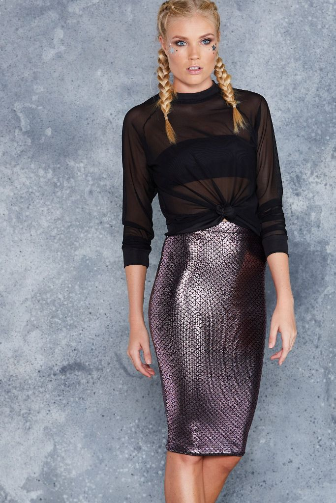 Mini Mermaid Pink Midi Pencil Skirt - LIMITED ($60AUD) by BlackMilk Clothing
