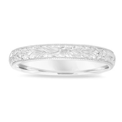 Hand Engraved Wedding Band 18k White Gold Vintage Ring Womens
