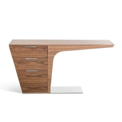 Features:  -Wenge and walnut veneer finish.  -3 Drawers with soft-closing mechanism.  -Solid stainless steel base.  Desk Type: -Writing desk.  Accent Finish: -Metal.  Top Material: -Manufactured Wood.