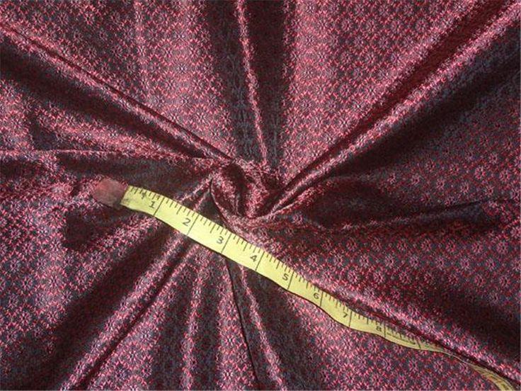 """Silk Brocade Fabric Pink x Grey Color 44"""""""