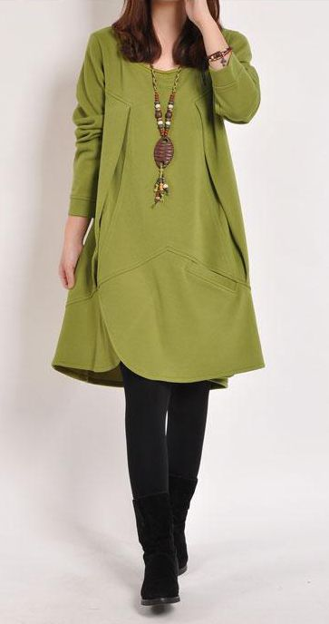 Olive Green Long Sleeve Loose Tunic Dress