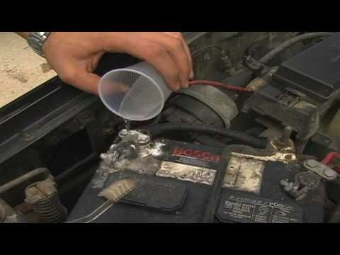 Car Maintenance : How to Clean a Car Battery with water and baking soda and an old toothbrush