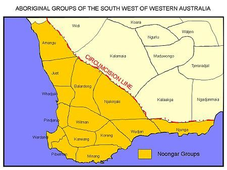 Noongar groups according to Norman Tindale's 1930 map.