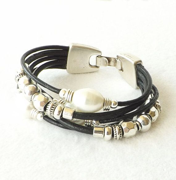 Black Leather Freshwater Pearl Silver Cuff door connectionsbymaya
