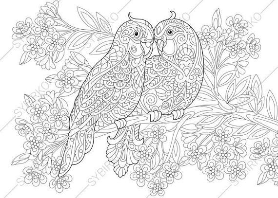 Coloring Page For Adults Birds In Love Valentines Day Etsy In 2021 Love Coloring Pages Coloring Pages Floral Stock Images