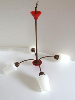 lustre vintage 4 tulipes ann es 60 rouge et dor luminaire vintage boutique broc pop. Black Bedroom Furniture Sets. Home Design Ideas