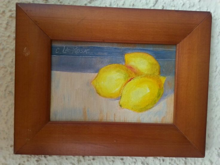 """""""Limones"""" oil on board 15x10 cms"""