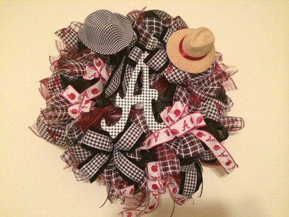 XL Alabama Football Wreath, Alabama Door Hanger on Etsy, $99.99