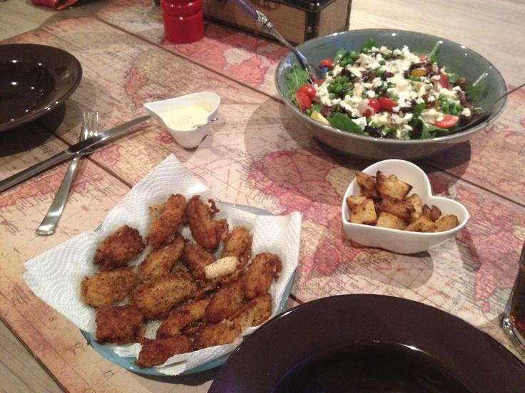 Calamari and salad