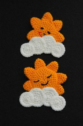 Attached a pin at the back. Pattern based on http://www.coatscrafts.co.uk/Crochet/Projects/childs_bedroom_mobile.htm