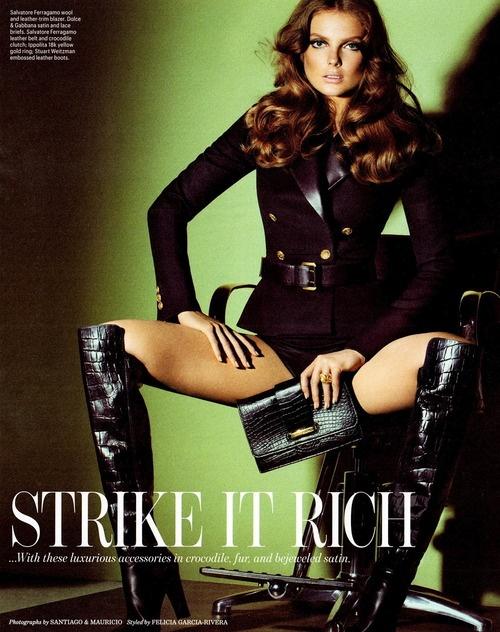 "Eniko Mihalik wears Dolce & Gabbanna, Salvadore Ferragamo & Stuart Weitzman for W September 2012 ""Strike it Rich"" editorial. Shot by Santiago and Mauricio."