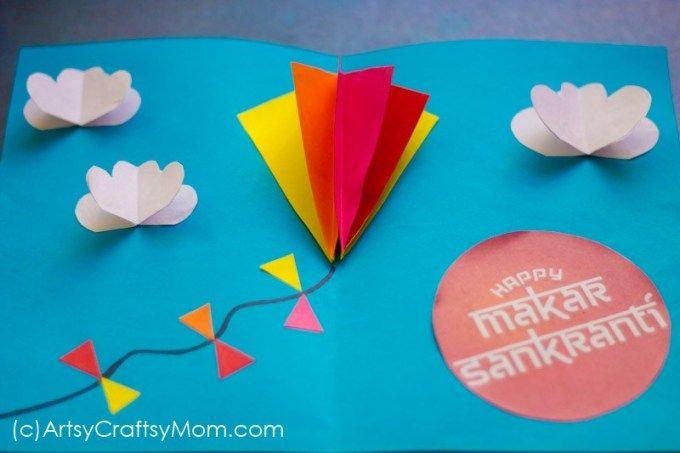 Diy Popup Kite Card For Sankranti Artesanato