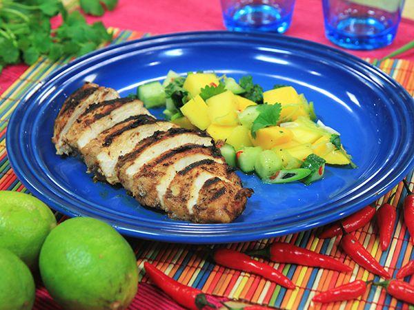Jerk chicken med mangosalsa | Recept.nu