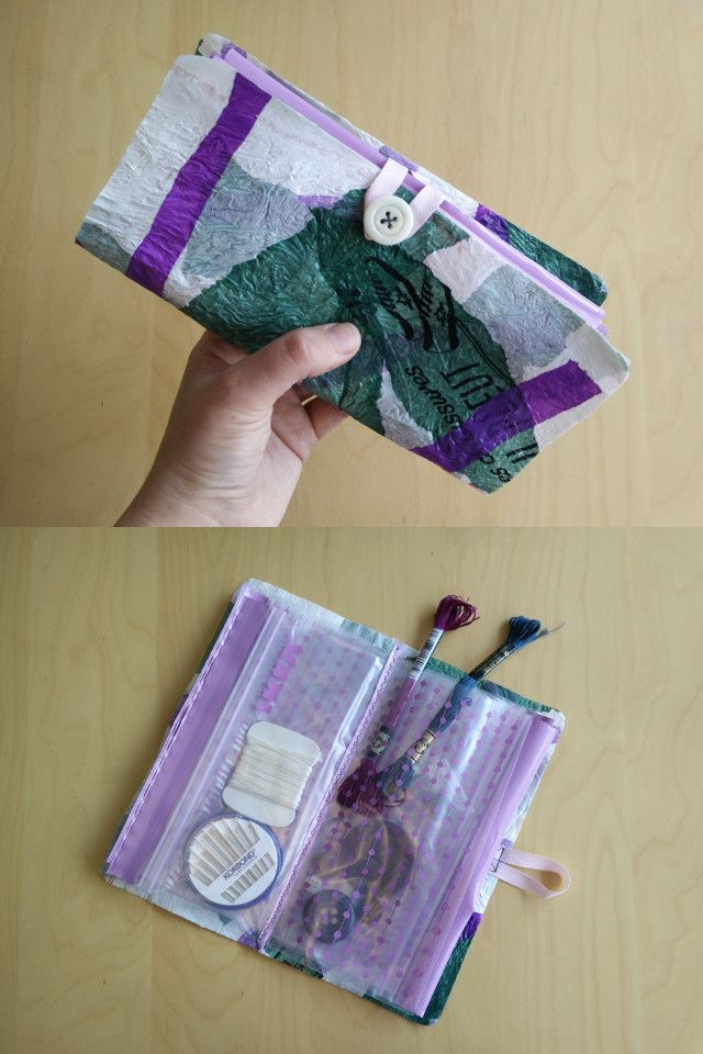 How to make a wallet out of fused plastic bags and resealable sandwich bags