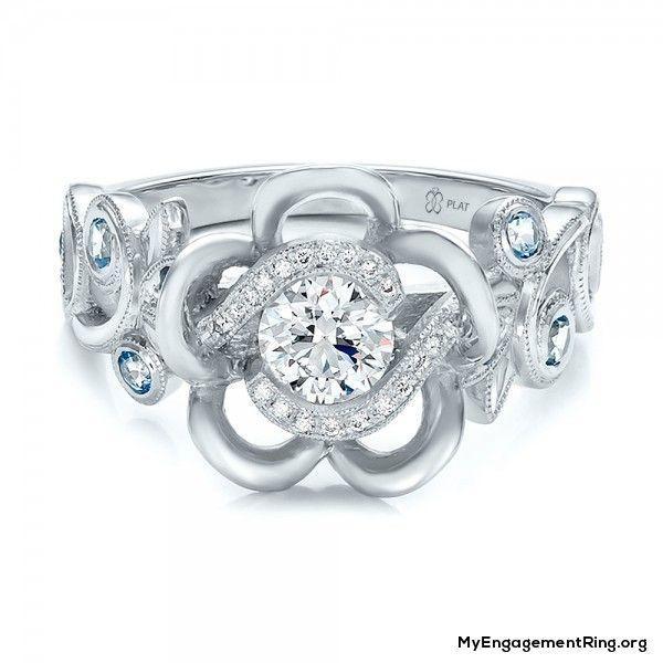 custom organic flower halo diamond engagement ring - My Engagement Ring
