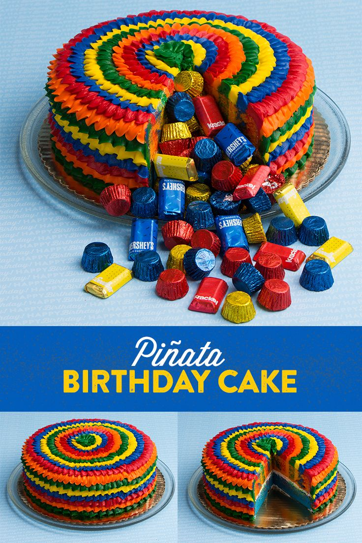 Piñata Birthday Cake — It's a cake, it's a piñata, it's the sweetest part of your next birthday party. Just cut a slice out of your kid's birthday cake, let it overflow with HERSHEY'S Birthday candy, and VOILÀ! It's now a piñata birthday candy cake exploding with HERSHEY-rific delicious treats. Let's make your child's party the sweetest celebration ever, with HERSHEY'S Birthday candy. Let's Birthday!