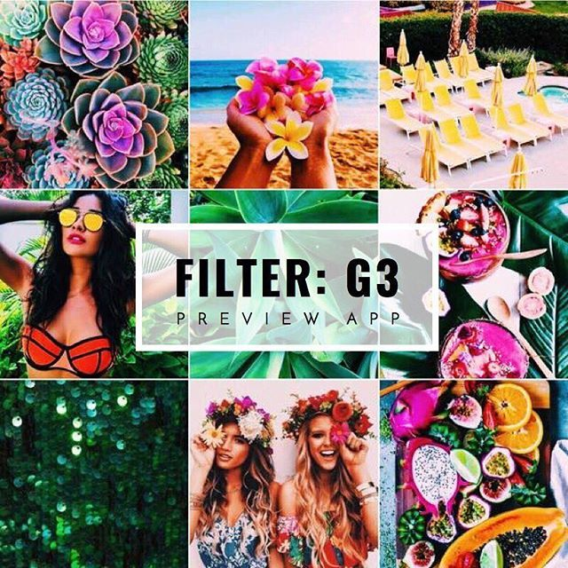 Tropical Instagram feed theme ideas, with tropical filter G3 in Preview app: _ This filter: • makes colors pop • high contrast • darker moody tropical vibes This is a perfect filter for a tropical, beachy, colorful Instagram theme. Get more inspiration on our website or Instagram feed (@preview.app).