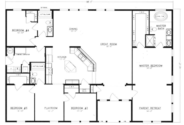 metal 40×60 homes floor plans | Floor Plans I'd get rid of the 4th bedroom and make that a garage! This is my favorite floor plan so far!