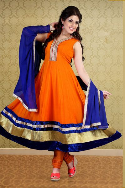 Orange Faux Georgette #Anarkali Salwar Kameez