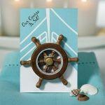 Boat Wheel 'Our Course is Set' Magnet Favor (Set of 6)