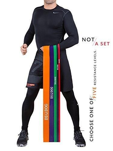 Resistance Band By DS DOG - Workout Band With 60-150 Pounds In Resistance - Crossfit Pull Up Bands For Home Or Gym - Powerlifting Exercise Bands - Extra Durable Natural Latex - with eGuide - Orange