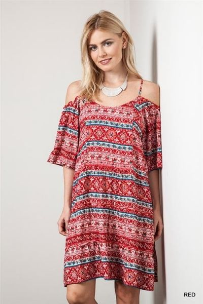 *** Ethnic Open Shoulder Dress *** Printed loose dress with flared half sleeves. Has cut out shoulder detail with thin straps and open tie back.