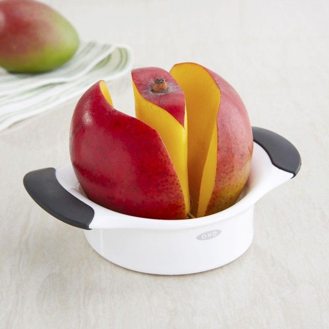 Mangos are sweet, juicy and delicious, but often a chore to prepare. Not anymore, with the OXO GOOD GRIPS Mango Splitter. One simple press removes the seed and cuts the fruit in half. The Mango Splitter slices cleanly through the fruit and leaves almost nothing behind on the seed. Soft grips cushion while you press and the stainless steel blades are sharp and sturdy.