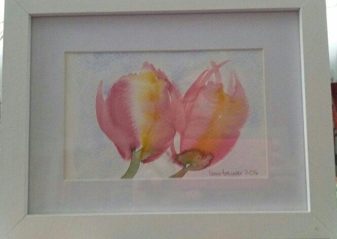 Två tulpaner i akvarell