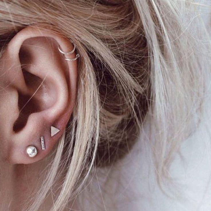 Minimalistische süße Knorpel Helix Ohr Piercing Ideen für Frauen – Wired Metal Trian