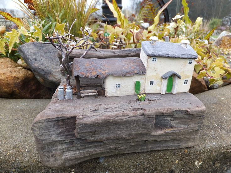 """""""Tan y Graig Ffermdy"""" (Below the Crag Farmhouse). A Walk on The Brecon Beacons Way. Handmade in Wales and set on driftwood from Pendine Beach.  Made using all reclaimed materials, including Welsh Slate and dried heather."""