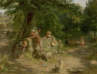 Fine Art Print of Playmates, 1867 by William McTaggart