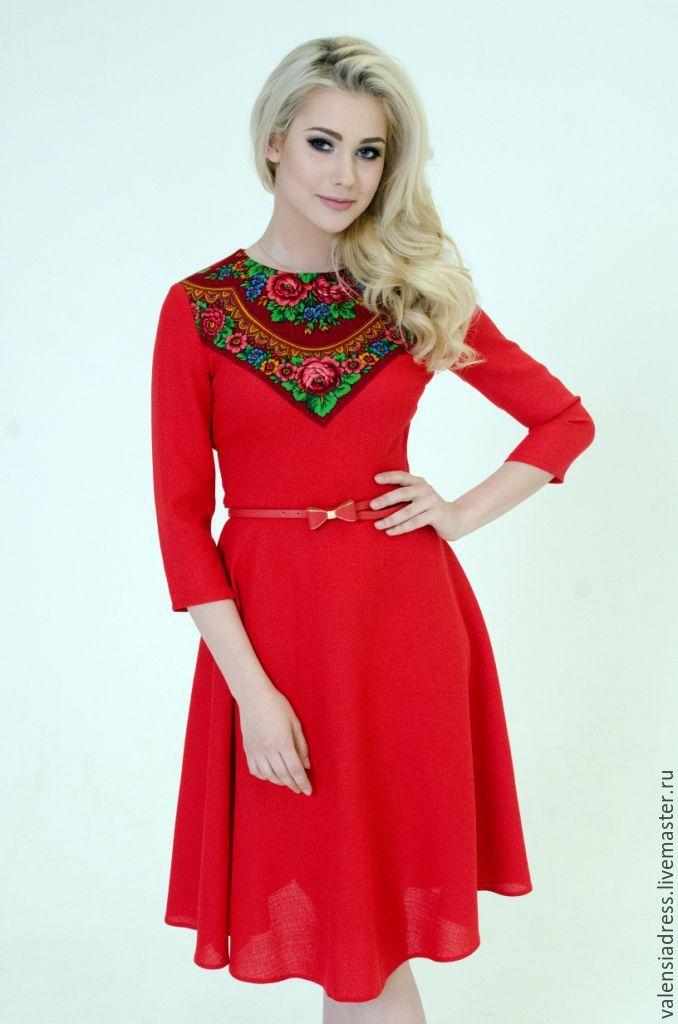 Купить Платье красное,платье короткое - ярко-красный, однотонный, платье летнее, платье женское