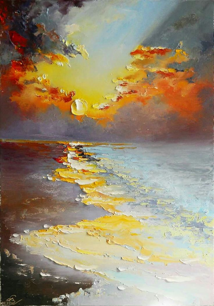 Check that out! Easy beach painting with palette knife. I love the glow of light.