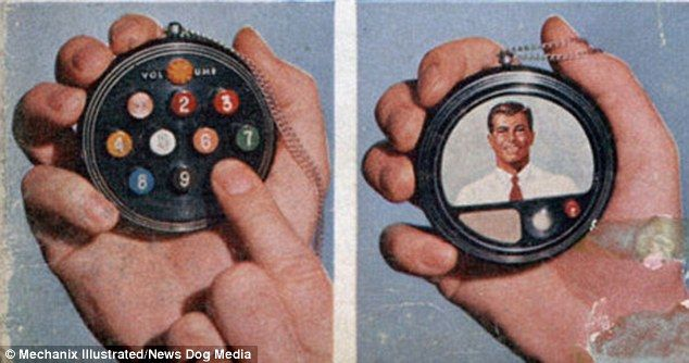 Phone of the future: It may look like a stopwatch, but a concept of a mobile phone devised in the 1950s, includes many features that we take for granted today, including voice recognition and video calling. The 'phone' featured push buttons on one side (left) and showed a photo of a desired contact on the other (right) [Futuristic Gadgets: http://futuristicnews.com/category/future-gadgets/]
