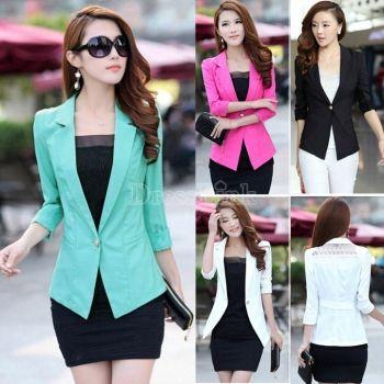 Women's 3/4 Sleeve Blazer One Button Work Wear Suit Coat Jacket