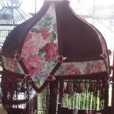 Burgundy and Pink Floral Lampshade with Rosettes and Tassles